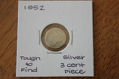 1852  Tough To Find  Silver Three Cent Piece