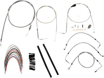 "Burly Brand Braided SS Cable/Line Kit For 16"" Ape Hanger Bar B30-1089"
