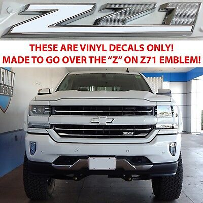 Summit White Vinyl Overlays For Z71 Grill Emblem For 2014 2018 Chevy