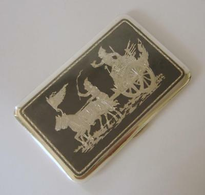 An Ornately Engraved & Niello Decorated Heavy Sterling Silver Cigarette Case