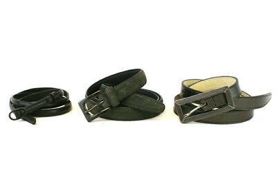 Lot of 3 Skinny Dark Gray Genuine Leather Womens Fashionable Belts Size L