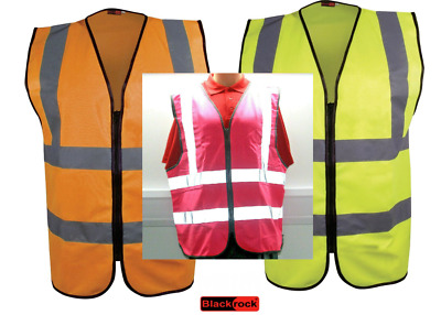 Blackrock ZIPPED Executive HI VIS VEST High Viz Waistcoat Yellow Orange Zip Up
