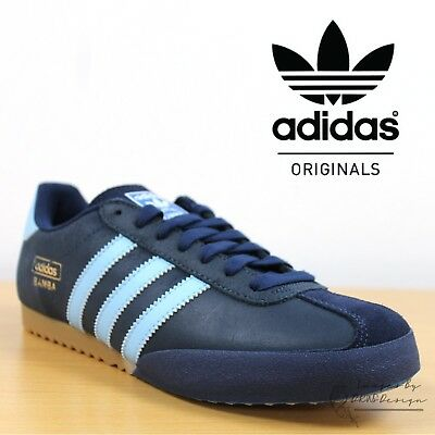lowest price b7592 890c4 adidas Originals Bamba Men s Trainers Navy Blue Leather Retro Football  Sneakers