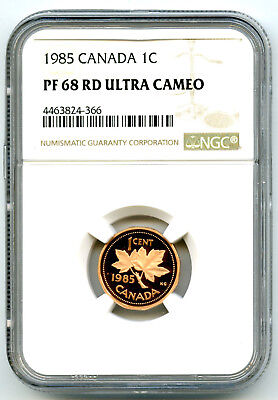 1985 Canada One Cent Ngc Pf68 Rd Ucam Proof Penny Extremely Rare Pop=3