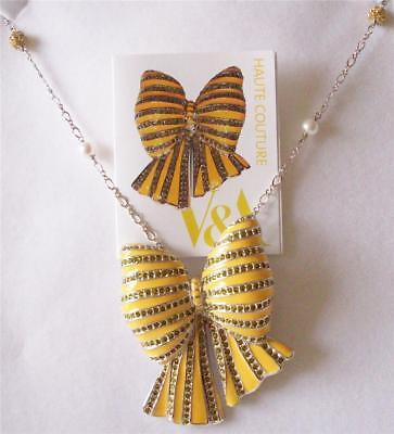 V&a - The Victoria And Albert Museum,yellow Enamel Bow Brooch Necklace Rrp £185
