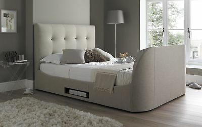 """Oatmeal Fabric Walkworth TV Bed 6ft Super King Size Holds Up To 42"""" TV"""