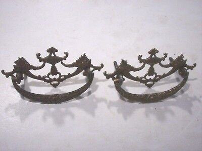 Set of 2-Antique Urn Decorated Brass Drawer Pulls Handles Architectural Pieces