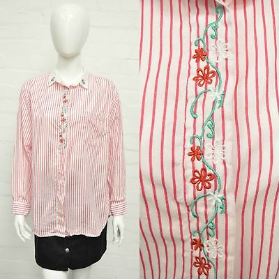 Vintage Red and White Embroidered Flower Shirt 16 Cute Boho Candy Stripe