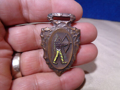 Antique Advertising Metal Keychain Fob Watch Fob  **native American Indian**