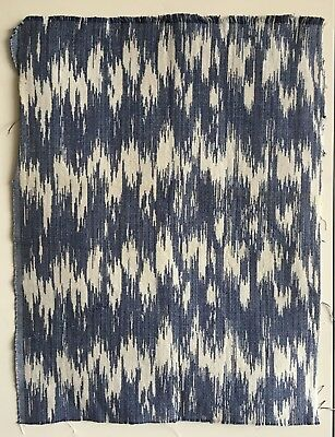 Beautiful 20th C. Indigo and White Woven Cotton and Linen Ikat Fabric  (2352)