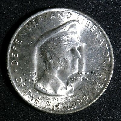 1947-S 50C Philippines Fifty Centavos Douglas MacArthur Silver Commemorative