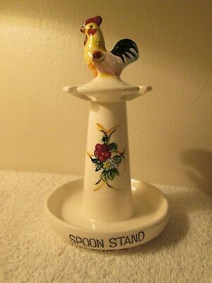 "Vintage Ceramic Standing 4 Spoon Rest Country Chicken Rooster On Top 6.5"" Tall"