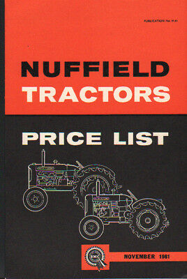 November 1961 Nuffield 460 and 342 Tractor Price List Brochure Leaflet
