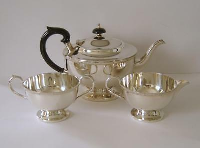 A Vintage Sterling Silver Three Piece Tea Set Sheffield 1964 E H Parkin & Co Ltd