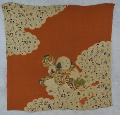 vintage scarf shawl Chinese Japanese Asian figures printed silk 33 in.