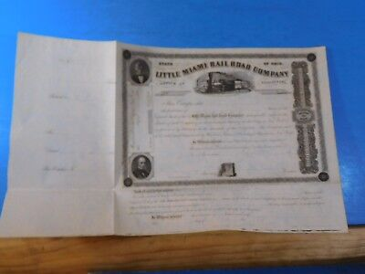 Stock certificate Little Miami Rail Road Company of Ohio 1850s $50 shares   Neve