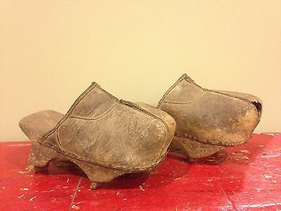 Antique 19th - Early 20th Century Leather Cleated Mongolian Ice Clogs,Ice Shoes