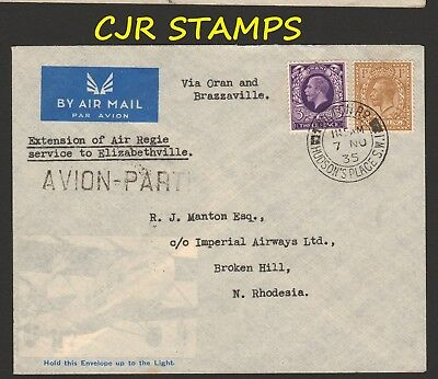 England 1935  Air Mail Cover    -    London To Broken Hill,  Northern Rhodesia