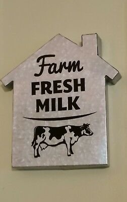Farm Fresh Milk metal house barn sign