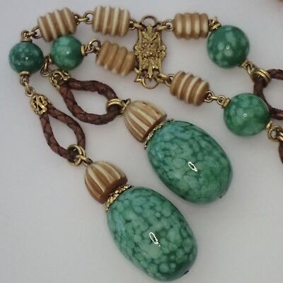 Vintage Art Deco France Tan Green Art Glass Leather Lariat Style Necklace