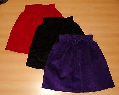 3 x VINTAGE 1980's UNWORN GIRLS CORDUROY SKIRTS - ASSORTED COLOURS AGE 5-6 YEARS