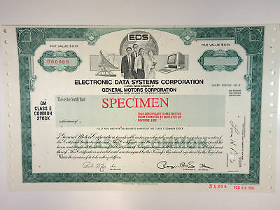 TX. Electronic Data Systems Corp. 1970s Specimen Stock Cert XF Division of GM
