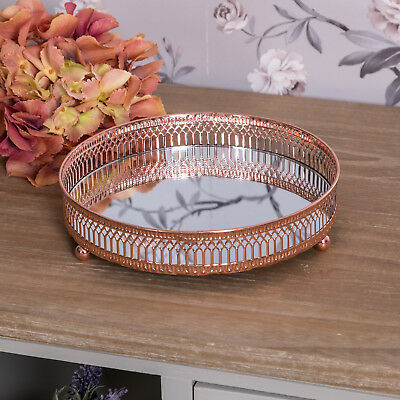 Copper mirrored tray ornate wedding table centre candle plate chic gift home