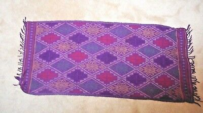 """Vintage Bali Asian Hand Woven Embroidered Fabric Textile Purple 17 x 40"""""""