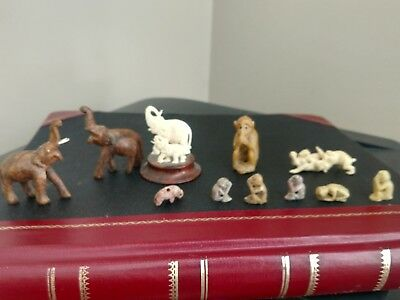 Vintage Miniature Carved Monkeys & Elephants -Stone & Wood