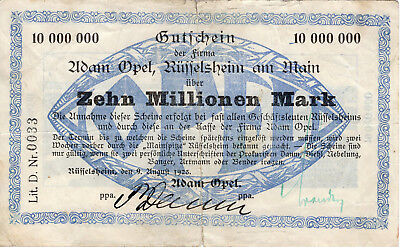 Rüsselsheim am Main, Opbel, 10 Millionen Mark, 9.8.1923