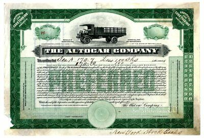 PA. Autocar Co.1910-1920 Issued Stock Certificate <100 Shares Early Truck Unique