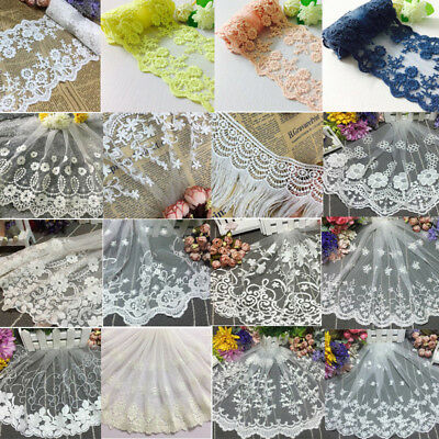 """9/""""*1yard Delicate  Embroidered flower tulle Lace Trim sewing Craft DIY 819"""