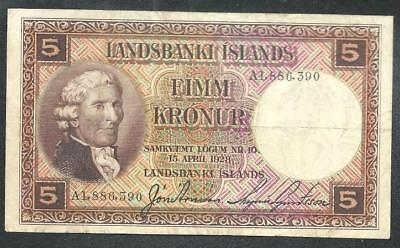 "Iceland 1928 Five Kronur Banknote ""scarce Xf"" # B1117 Price Cut & $1.00 Shipping"