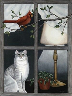 Cat cardinal lighted LED Lamp canvas art print cats wall picture lit decor sign