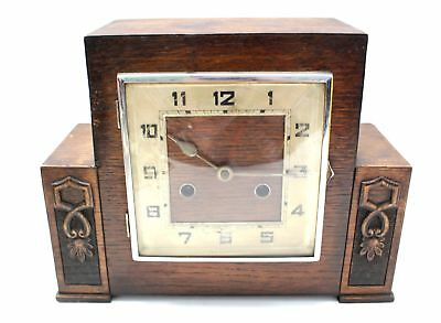 Vintage DARK WOOD Mantel Clock 28cm- Parts Or Repairs - A10