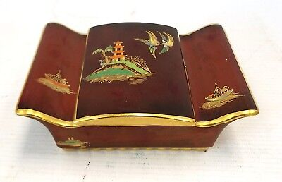 Vintage CARLTON WARE Gold Gilt Red Chinese Trinket Box - C63