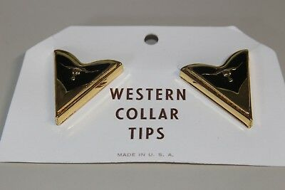 NEW Western Men's Collar Tips Gold/Black Longhorn Design