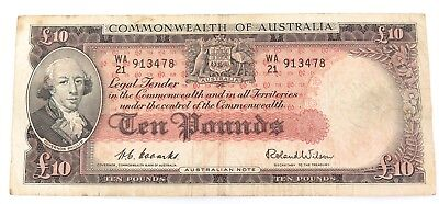 1950s COOMBS / WILSON TEN POUNDS NOTE. WA21 PREFIX. NICE NOTE !!