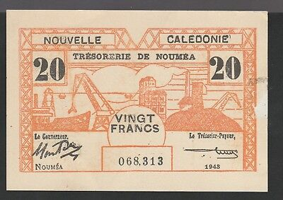 20 Francs From New Caledonia Noumea 1943
