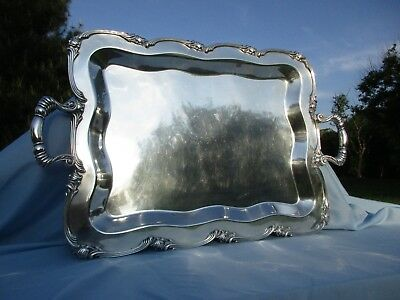 "Big! 24"" Camusso Sterling Silver Platter Tray 925 Peru 4lbs 5 oz's Vtg Antique"