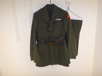 Nice Ww 2 Id'd Us 4Th Marine Jacket, Pants And Leather Belt, Dated 1943, 2S Size