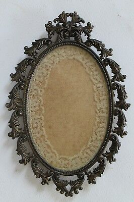 Vintage Ornate Oval Picture Frame Cast Metal Baroque Rococo Lace 4x6 Opening