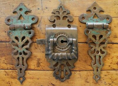 Vintage Antique Victorian Ice Box Hardware Heavy Ornate Brass Hinges Latch