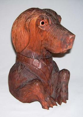 """Beautiful Vintage Hand Carved Wooden VIZSLA DOG BUST BOX w/Hinged Head (9"""" High)"""