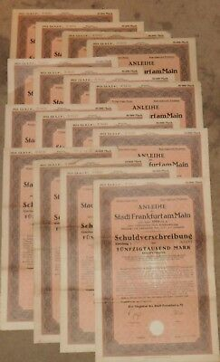 1923 Frankfurt City Bond Certificate and Coupons 50,000 Marks