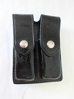 AKER 510-3 Double Magazine Pouch/Case-Black Leather Gloss-Nickel Snap-Glock 9