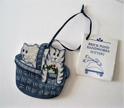 Blue Crackle Finish CATS IN BASKET Ornament Brick Pond Handworks Pottery 1997