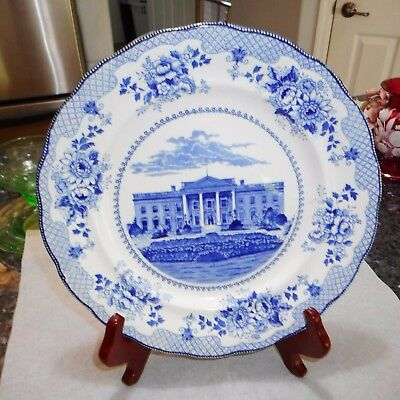 Antique Buffalo Pottery Blue & White White House Plate