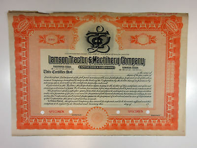 SD. Lamson Tractor & Machinery Co 1920-30s Specimen Stock Certificate XF SBN