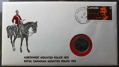 Canada #612 Cover With Cachet & 1973 Uncirculated 25 Cents RCMP Coin